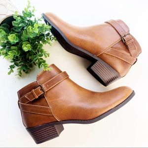 American Eagle Ankle Buckle Bootie Camel Brown